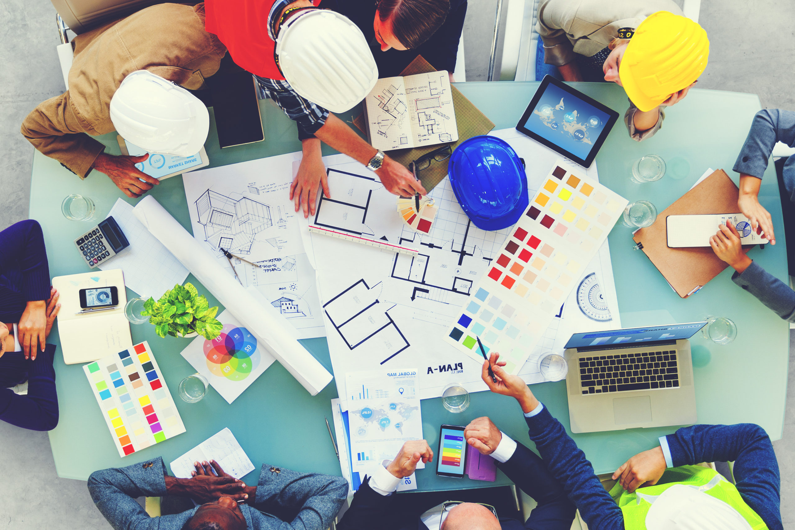 Architects and Designers Working in the Office Concept